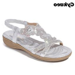 Gykaeo Flat Bottom Large Size Fashion <font><b>Sandals</b></