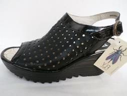 FLY London Perforated Peep-toe Wedge Sandals - Yile Perf BLA