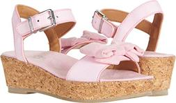 UGG Girls K Milley Bow Wedge Sandal, Seashell Pink, 1 M US L