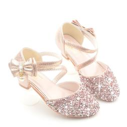 Glitter Little Girl Heels Bow <font><b>Sandals</b></font> 20