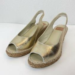 Fabiolas Gold Leather Wedge Open Toe Sandals Womens size 40