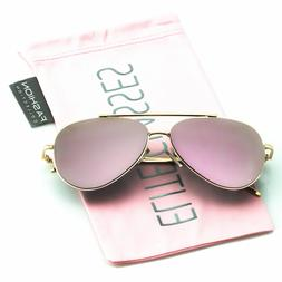 Gold/Pink Mirror Lens Aviator Sunglasses Limited  Edition Wo