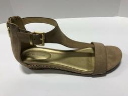 Kenneth Cole Reaction Great Gal Brown Leather T-Strap Wedge