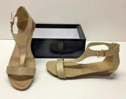 Kenneth Cole Reaction Great Gal T-Strap Wedge Snakeskin Sand