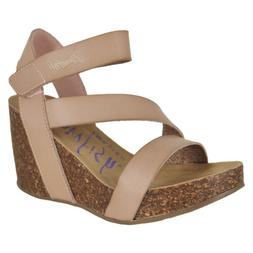 Blowfish Hapuku Blush Dyecut Pu Womens Wedge Sandals Size 7.