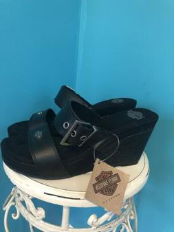Harley-Davidson Lacey Sandals. Black Wedge W/ Sparkle. NWT.