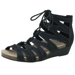 Earth Origins Harley Womens Black Leather Lace Up Wedge Glad
