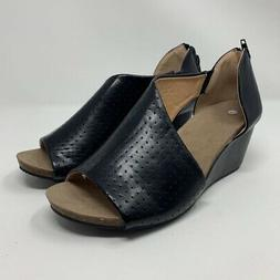 Heeled Sandals Womens Black Cutout Perforated Wedge Back Zip