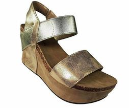 Pierre Dumas 'Hester 1' Women's Gold Strappy Wedge Sandals 2