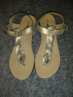 "CORKYS ""HIPSTER"" BRONZE LEATHER THONG WEDGE SANDALS WOMENS S"