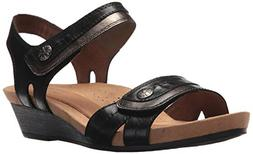 Cobb Hill Women's Hollywood 2 Piece Sandal, Black Leather 7.
