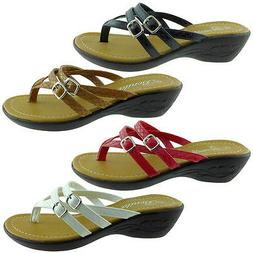 HOPE-06 Womens Sandals Wedge Shoes Low Heels Flip Flops Thon