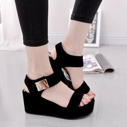 Hot! Summer Women's Wedge Sandals Peep Toe Platform Casual S