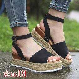 Hot Womens Flatform Cork Espadrille Sandals Ladies Wedge Ank