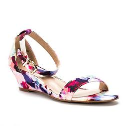 DREAM PAIRS Women's Ingrid Floral Ankle Strap Low Wedge Sand