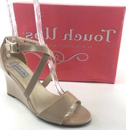 """TOUCH UPS """"Jenna"""" Nude Patent leather wrapped wedge women sa"""