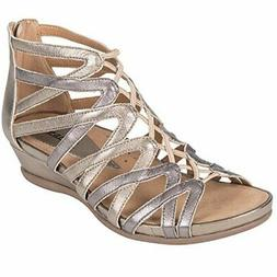 Earth Womens Juno Gunmetal Metallic Tumble Leather Sandal -