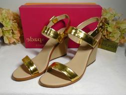 KATE SPADE Gold Metallic Nice Wedge Sandals Sz 8M, 81/2M, 9M