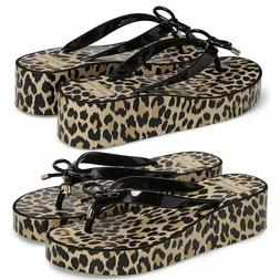KATE SPADE Rhett Leopard Wedge Flip Flops Sandals Gold Heart