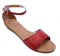 KIDS GIRLS CHILDRENS RED LOW WEDGE SUMMER SANDALS CUTE HOLID