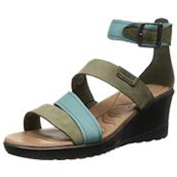 KEEN  $100 MINERAL BLUE LEATHER SKYLINE WEDGE SANDALS    10.