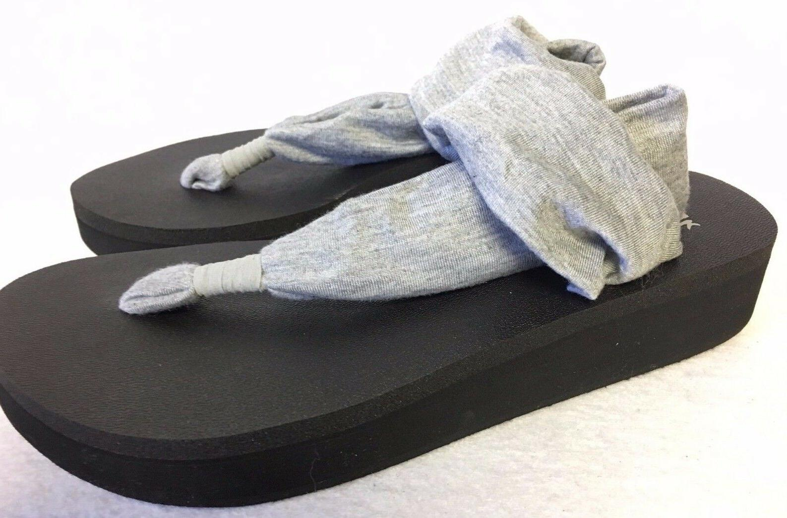 Sanuk 1016351 Yoga Sling Wedge Flip Flop Heather Grey Gray W