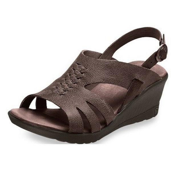 KEEN BROWN LEATHER WEDGE 11