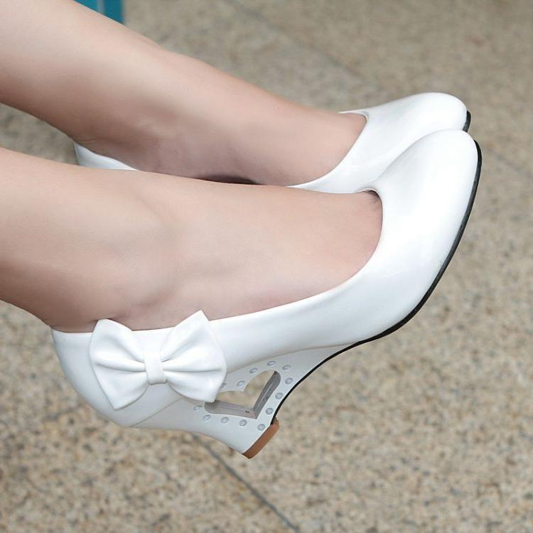 2018 Patent Leather Round Toe Bowtie Wedge Pumps Sandals Sho
