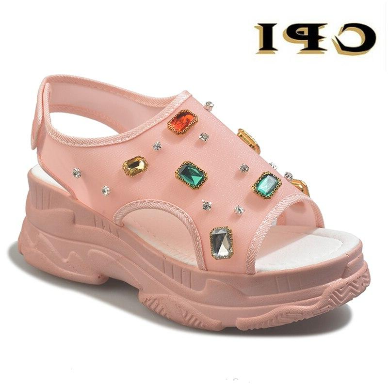 2019 Summer Rhinestone <font><b>Sandals</b></font> Women Shoes <font><b>Wedge</b></font> Diamond <font><b>Yellow</b></font> <font><b>Sandals</b></font>