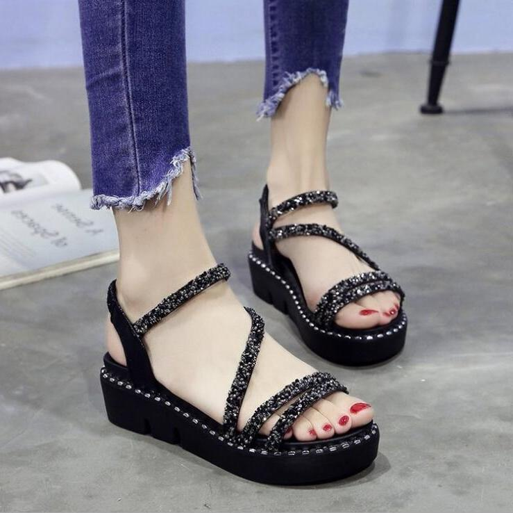 XDA Style <font><b>Sandals</b></font> Shoes Platform waterproof Casual open-toe sequin