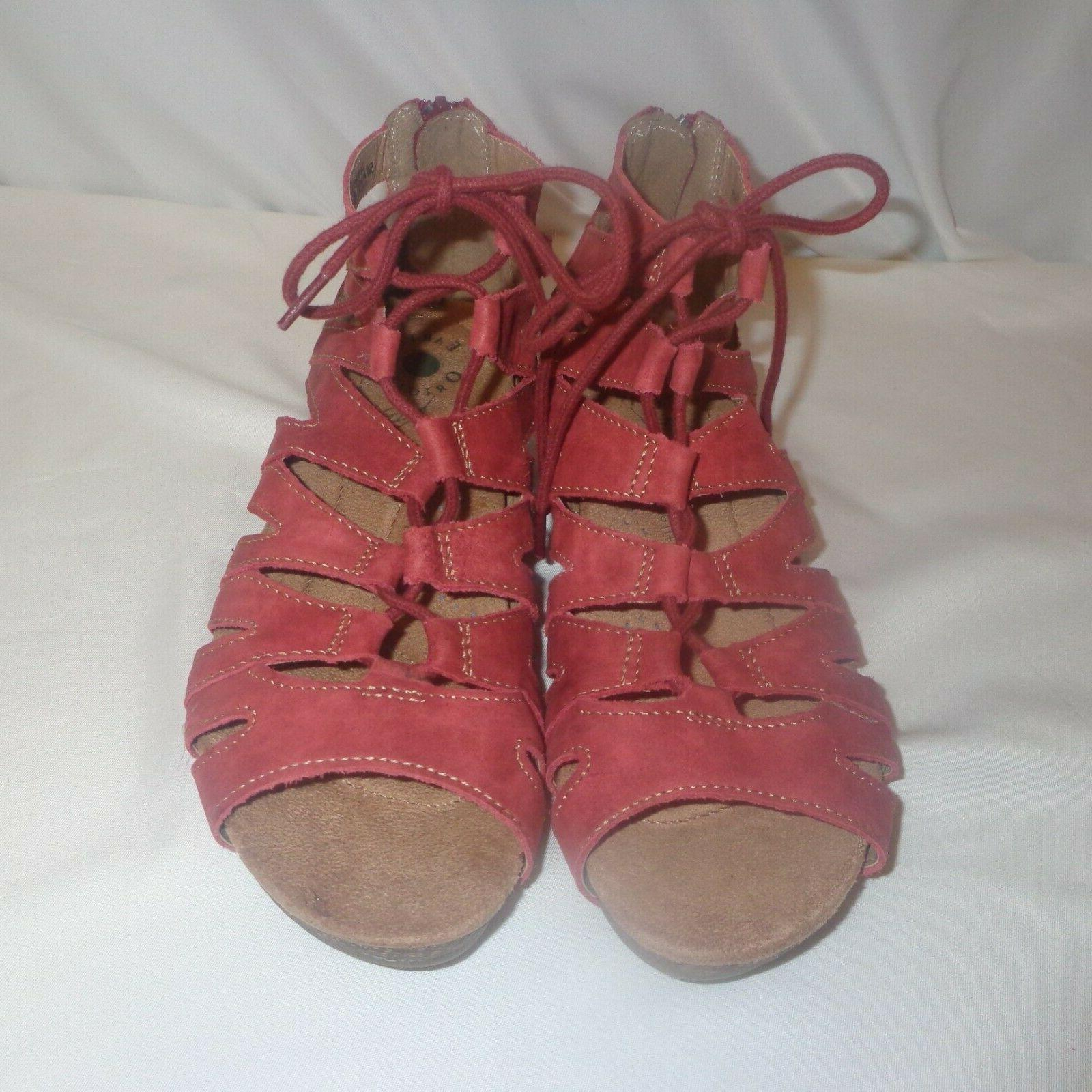 Earth Sandals Gladiator Wedge Lace Wide Women's