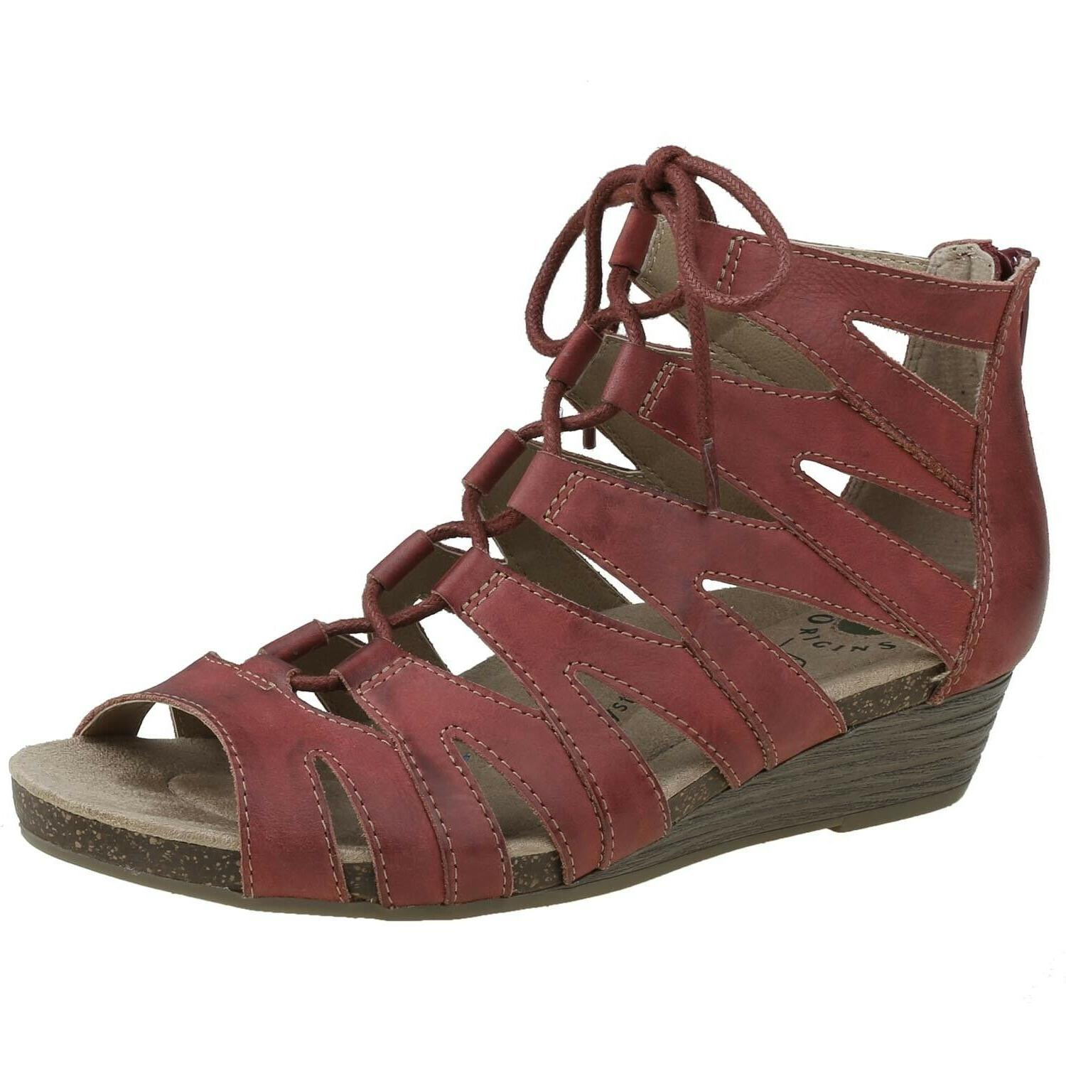 Earth W Sandals Gladiator Leather Wedge Lace Up Women's