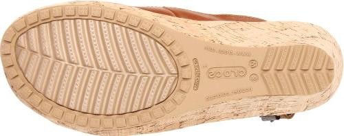 Crocs Women's A-Leigh Wedge Sandal,Cocoa,7 M