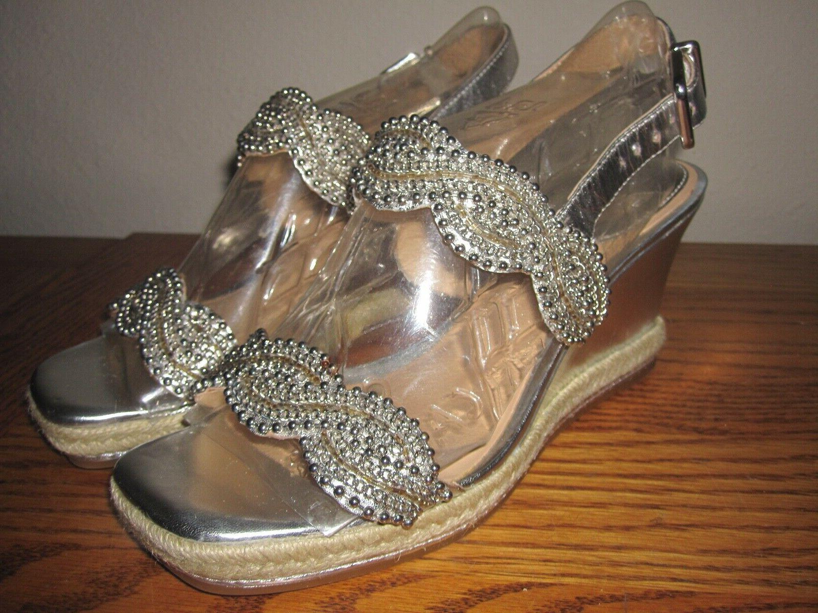 antonio milani metallic silver wedge sandals size