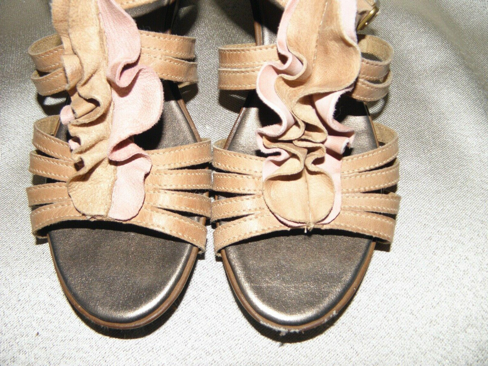 Brown Leather Wedge Sandals 10M