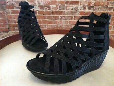 black peep toe caged parallel dream queen
