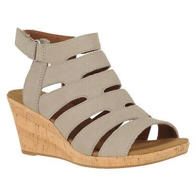 Rockport Briah Banded Sling Dove Womens Wedge Sandals Size 8