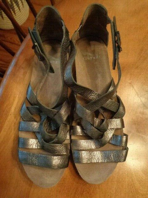 bronzy strappy 100 percent leather wedge sandals