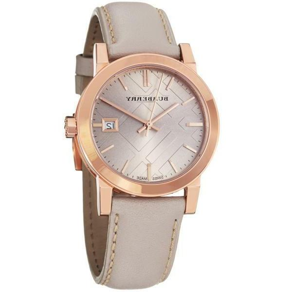 bu9109 beige leather strap watch
