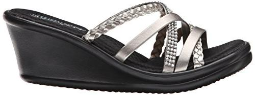Skechers Child Wedge Sandal,Pewter W US