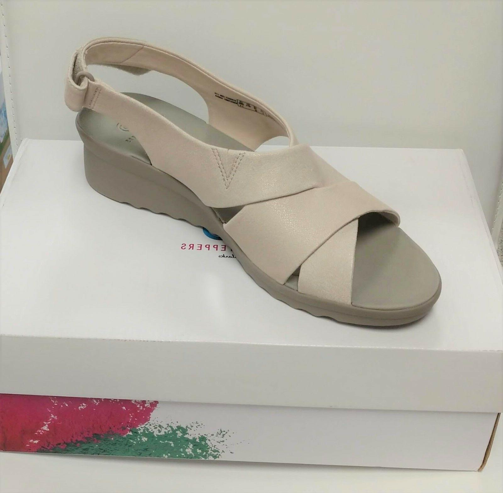 cloudsteppers by caddell bright wedge sandals size