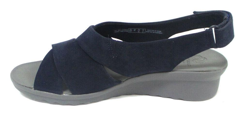 CLOUDSTEPPERS Clarks Wedge Sandals Caddell Navy