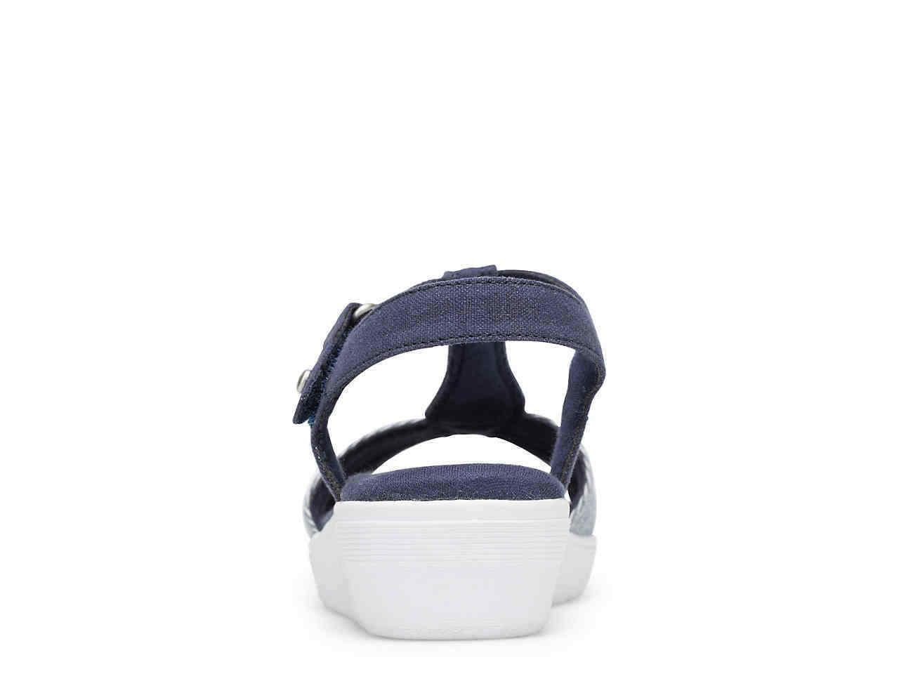 Grasshoppers Wedge Sandals Blue/White Women's Comfort Shoes