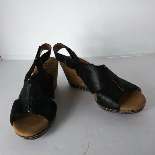 Clarks Collection Cushion Black Wedge Sling back Sandals T2