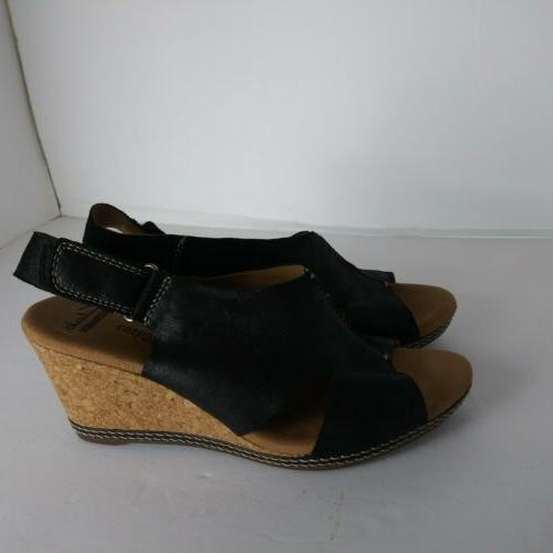 Clarks Womans sz.8.5mSoft Cushion Black Wedge back T2