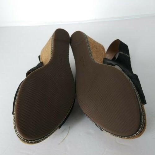 Clarks Cushion Black Wedge back Sandals T2