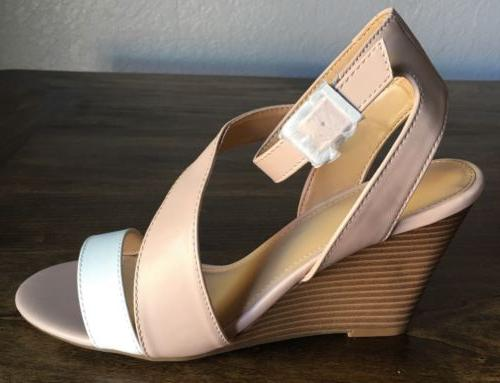 Express Cream/Beige Wedge Sandals Size 8