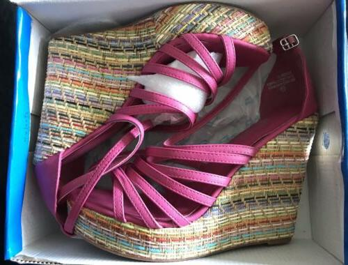 de collection fuchia multi colored wedge sandals