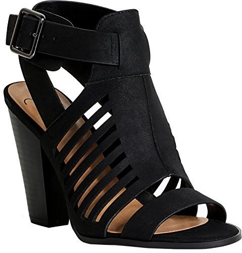 delicious yummy cutout stacked heel sandal black