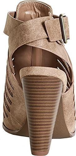 SODA Yummy Stacked Sandal,Taupe